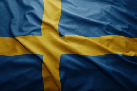 Waving colorful Swedish flag photo