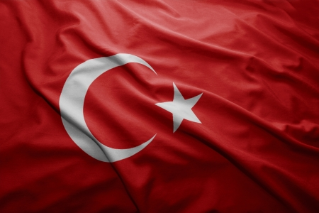 Waving colorful Turkish flag Stock Photo - 22565151
