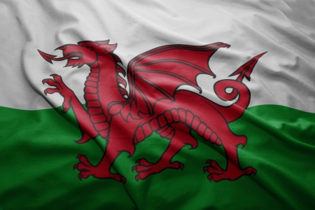 welsh flag: Waving colorful Welsh flag