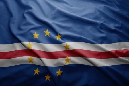 cape verde: Waving colorful Cape Verde flag
