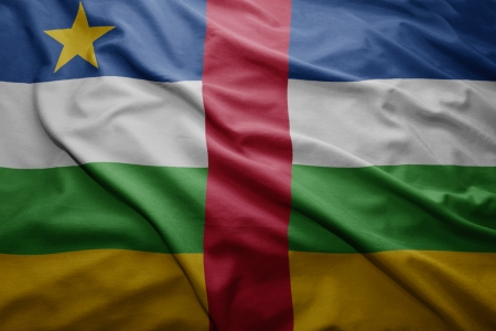 central african republic: Waving colorful Central African Republic flag
