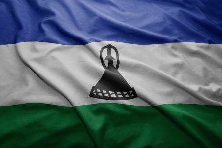 LESOTHO: Waving colorful Lesotho flag