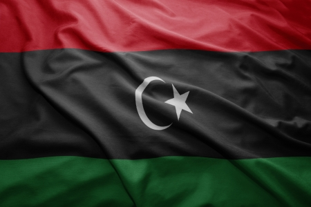 Waving colorful Libyan flag photo