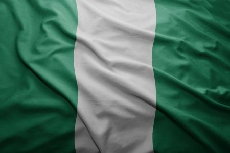 nigerian: Waving colorful Nigerian flag