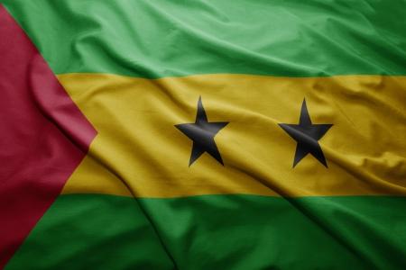 principe: Saludar con la mano colorida Sao Tome and Principe bandera Foto de archivo