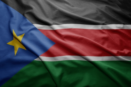 south sudan: Waving colorful South Sudan flag