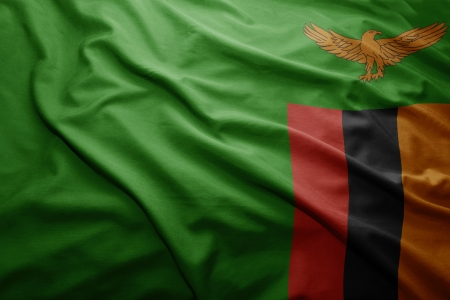 zambian flag: Waving colorful Zambian flag
