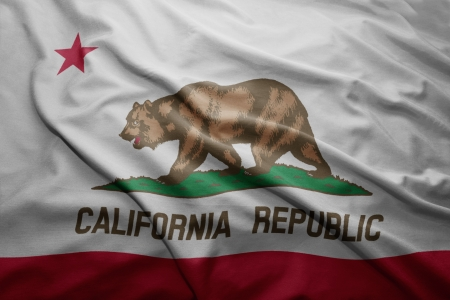 california flag: Waving colorful California flag