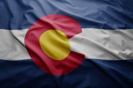 denver: Waving colorful Colorado flag Stock Photo