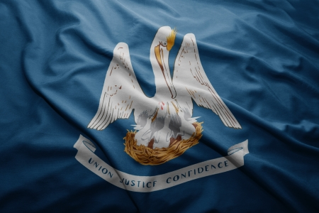 louisiana flag: Waving colorful Louisiana flag Stock Photo