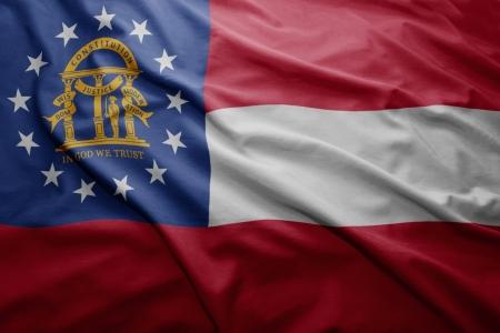Waving colorful Georgia flag photo