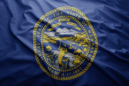 nebraska: Waving colorful Nebraska flag