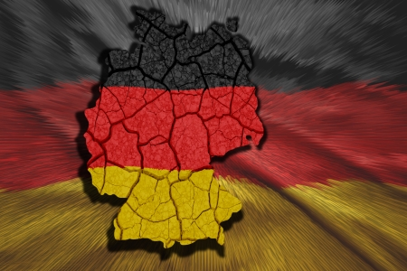 Map of Germany in National flag colors photo