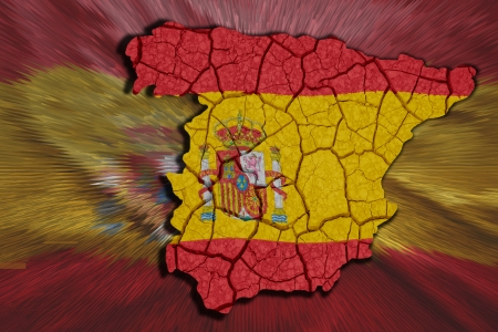 Map of Spain in National flag colors photo