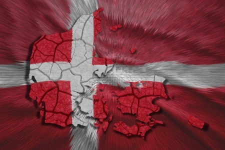 Map of Denmark in National flag colors photo