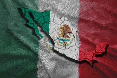 Map of Mexico in National flag colors photo