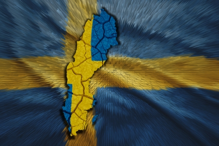 Map of Sweden in National flag colors photo