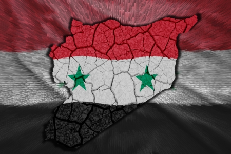 Map of Syria in National flag colors photo