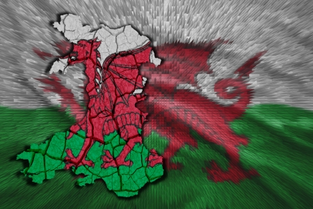 Map of Wales in National flag colors photo