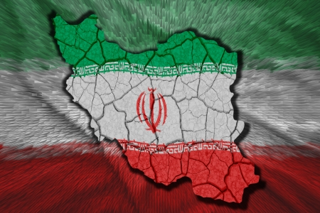 Map of Iran in National flag colors photo