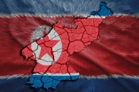 Map of North Korea in National flag colors photo
