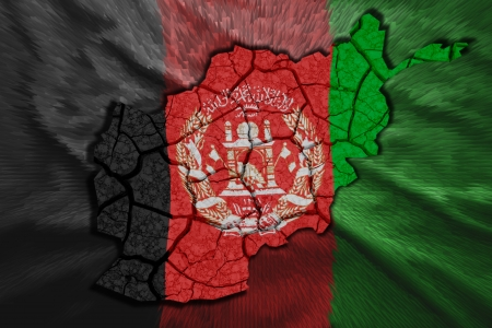 Map of Afghanistan in National flag colors photo