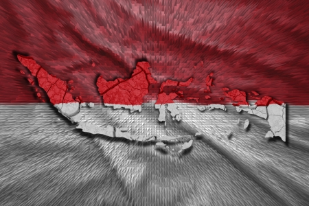 Map of Indonesia in National flag colors photo