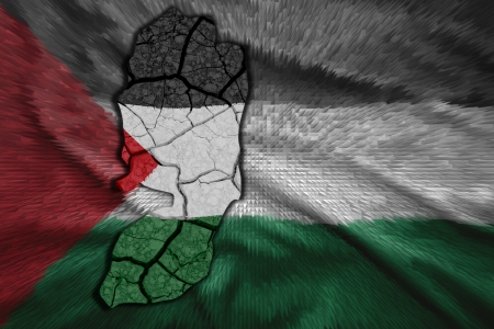 Mappa della Palestina nei colori della bandiera nazionale Archivio Fotografico - 23026269