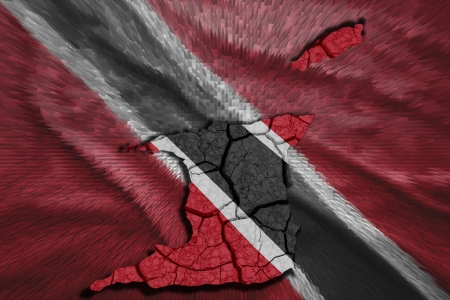 Map of Trinidad and Tobago in National flag colors photo