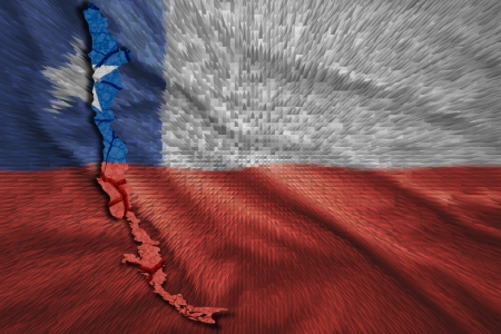 Map of Chile in National flag colors photo