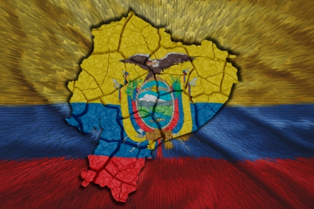 Map of Ecuador in National flag colors photo