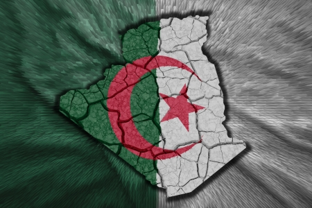 Map of Algeria in National flag colors photo