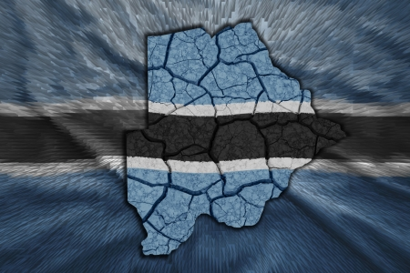 Map of Botswana in National flag colors photo