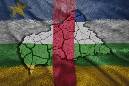 Map of Central African Republic in National flag colors photo