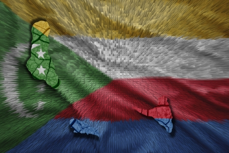 comoros: Map of Comoros in National flag colors