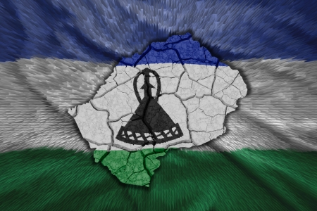 lesotho: Map of Lesotho in National flag colors