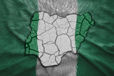 Map of Nigeria in National flag colors photo