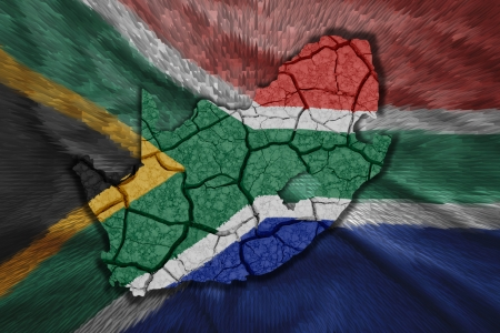 Map of South Africa in National flag colors photo