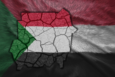 Map of Sudan in National flag colors photo