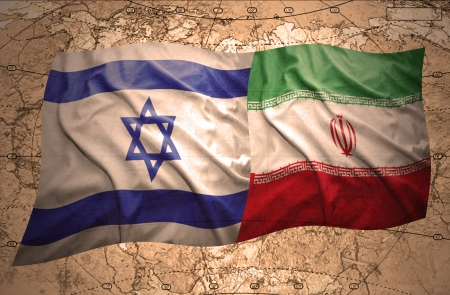 iranian: Waving Israeli and Iranian flags on the background of the political map of the world