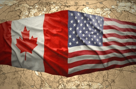 canadian state flag: Waving United States of America and Canadian flags on the background of the political map of the world