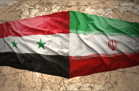 syria peace: Waving Syrian and Iranian flags on the background of the political map of the world Stock Photo