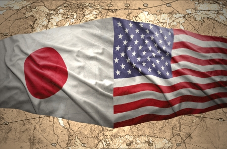 Waving United States of America and Japanese flags on the background of the political map of the world Stock Photo - 24042179