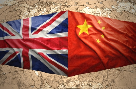 china flag: Waving British and Chinese flags on the political map of the world