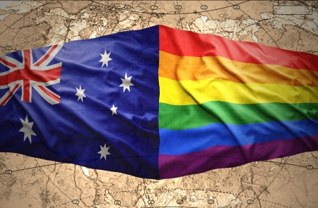 rainbow flag: Waving Australian and Rainbow flags on the background of the political map of the world