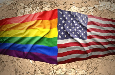 Waving United States of America and Rainbow flags on the background of the political map of the world Stok Fotoğraf