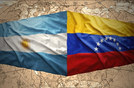 venezuelan: Waving Venezuelan and Argentinean flags on the background of the political map of the world