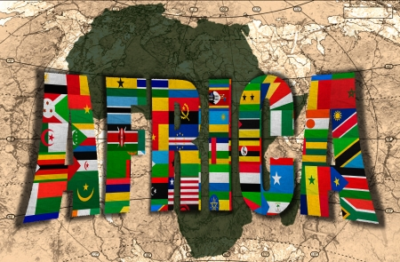 Map, word and flags of Africa on the background of the political map of the world photo