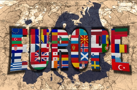 Map, word and flags of Europe on the background of the political map of the world photo
