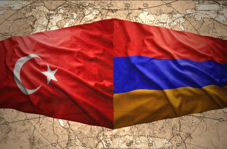 armenian: Waving Armenian and Turkish flags on the background of the political map of the world